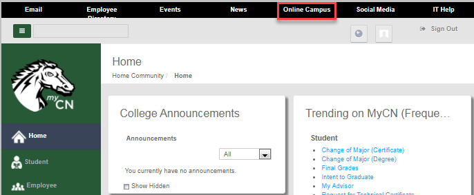 MyChargernet with user logged in and Online Campus highlighted