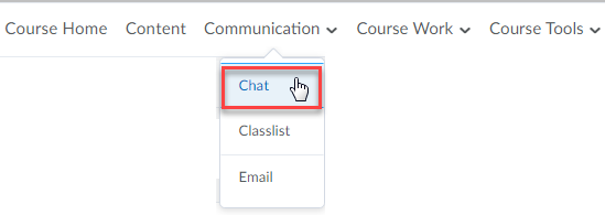 Online Campus - Course Home with chat under the communication menu selected.